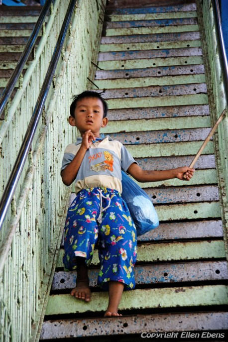 Young boy at the Mount Popa Monastery