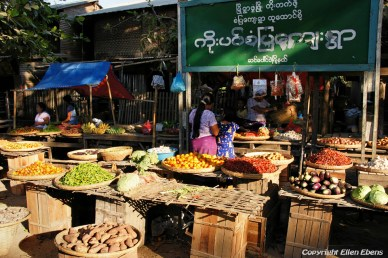On the road from Bagan to Pyay, vegetables for sale