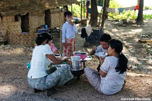 Pyay, a family having diner at their house