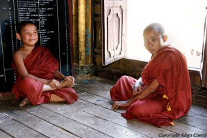Inle Lake, young monks at the Shwe Taunghwe Kyaung Monastery