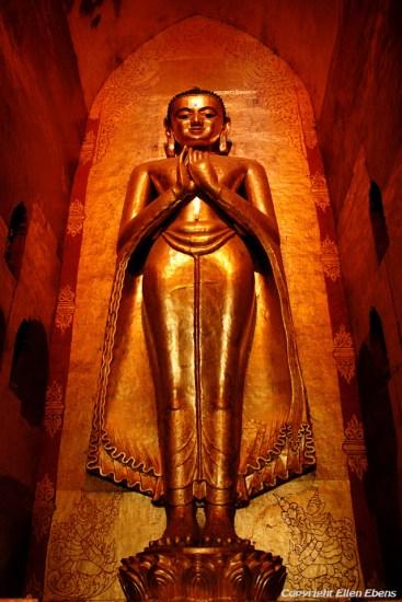 Bagan, big Buddha statue at the Ananda Temple