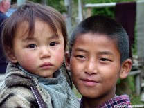 Bhutan portrait boy little sister