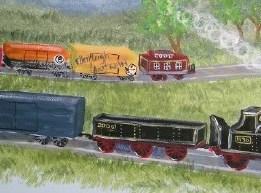 train wall murals by Ellen Leigh