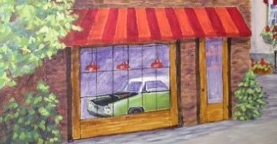 Jack's Superbee part of a larger mural, the owner's classic car viewed through the window of his garage.