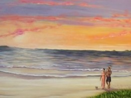 A Little Beach 48 x 84 fine art painting by Ellen Leigh depicting a young family and their dog walking on a beach.