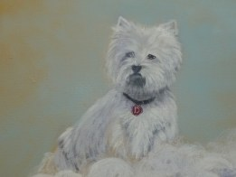Rainbow bridge mural detail of Westie