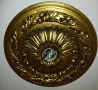 Ceiling medallion painted to match fixture by Ellen Leigh