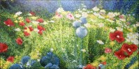 Sandy's Garden 24 x 48 fine art painting by Ellen Leigh in pointillism style showing an example of her signature.