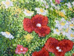 close-up of poppies in Sandy's Garden by Ellen Leigh, entered in Northville's Art Show.