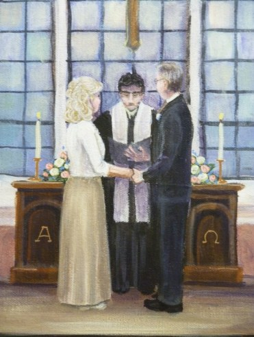 Detail of the Ceremony fine wedding art painting by Ellen Leigh