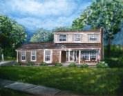 Sun Breaking Through House Portrait 11x 14 fine art painting by Ellen Leigh