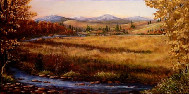 Colorado Meadow Morning 15 x 30 fine artwork painting by Ellen Leigh Artist's collection, prints available on FAA