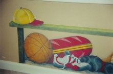 Sports Bench. created and painted to coordinate with sports border. Mural by Ellen Leigh