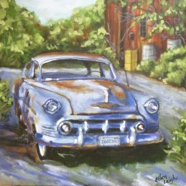 Chevy 12 x 12 fine art painting by Ellen Leigh of an old Chevy Bel-aire