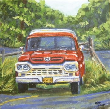 Ford 12 x 12 fine art painting by Ellen Leigh of an old Ford f-150 truck.