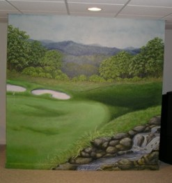 Hole Number 12 mural of a golf course and hole 12, rocky stream in the foreground. Mural by Ellen Leigh