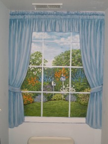 Garden View Window in a tiny powder room, depicting the owner's garden and bird feeders, curtains painted to frame out the work. Mural by Ellen Leigh
