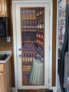 Wine Tasting Door mural on canvas covered hardboard mounted on metal door. Mural by Ellen Leigh