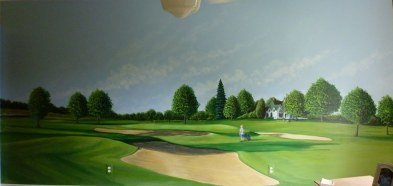 A large mural in a boy's room of boy and dad's favorite hole on their favorite course, clubhouse in the background. Mural by Ellen Leigh