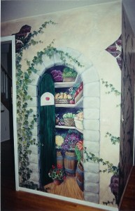Greek Market open doorway mural showing shelves full. Mural by Ellen Leigh