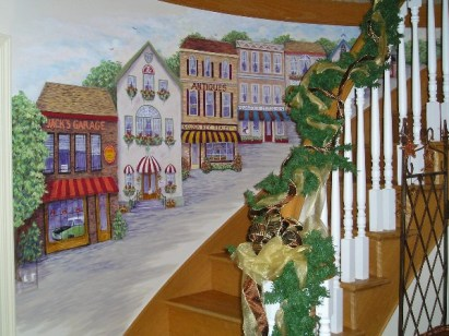 Village on the stairs mural by Ellen Leigh