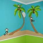 Cartoon Monkeys and coconut trees. Mural by Ellen Leigh