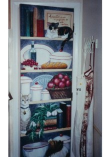 Pantry door, hand-painted mural by Ellen Leigh 24 x 80 flat panel door with 2 cats and a sheltie along with some favorite items.