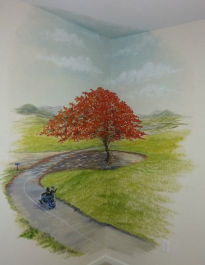 A favorite tree from the owner's memories of Puerto Rico, the Flamboyan Tree. Nursery wall mural with scenery and the couple on their motorcycle. Mural by Ellen Leigh