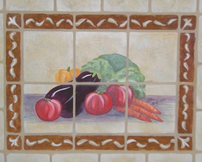 A wall painted to look like a tile inset into a backsplash mural by Ellen Leigh
