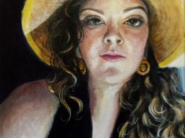 Katrina in a Yellow Hat 11 x 14 acrylic on canvas fine art portrait painting from a photograph by Michigan artist, Ellen Leigh