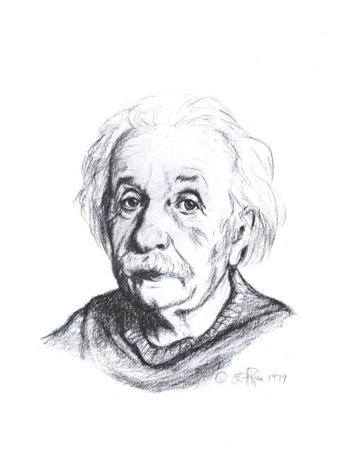 Albert Einstein portrait by Ellen Rice, an example of her