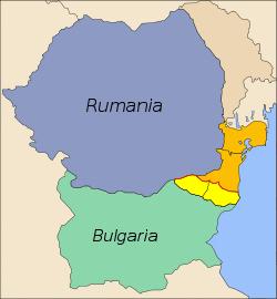 Mapa de Rumania y Bulgaria que se reparten la región de la Dobruja:      Dobrudja septentrional (Rumanía)      Dobrudja meridional (Bulgaria)