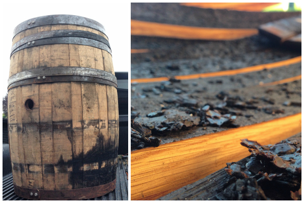 charred insides of the bourbon barrel