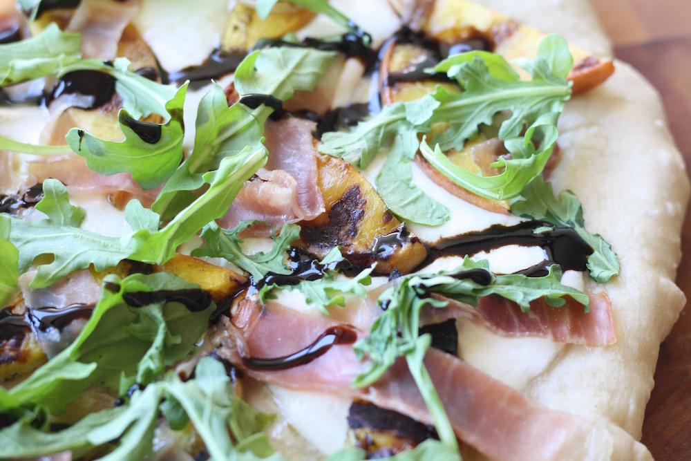 Grilled Peach Prosciutto Pizza Recipe | Ellie And Addie