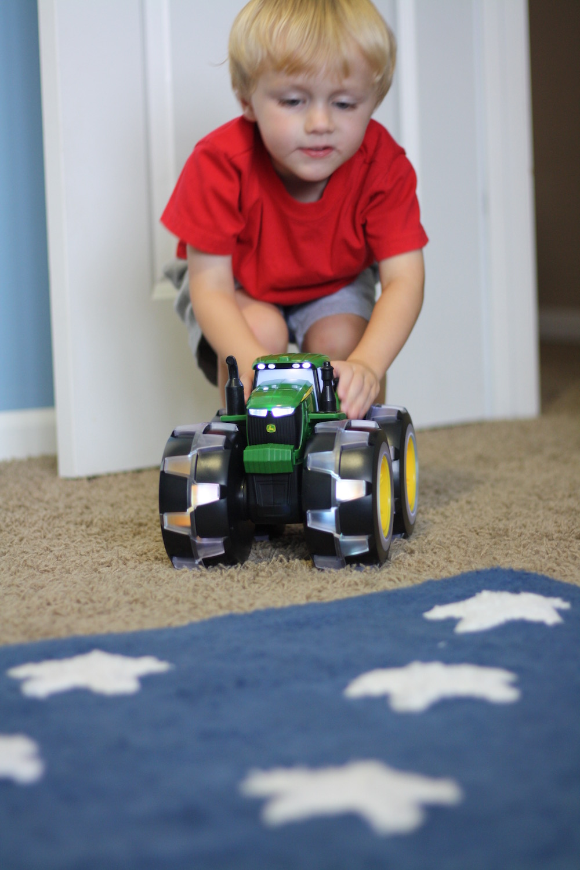 Monster. Tractor. Wheels. - A sneak peek at the new John Deere Monster Treads Deluxe Lightning Wheels Tractor by TOMY | Ellie And Addie