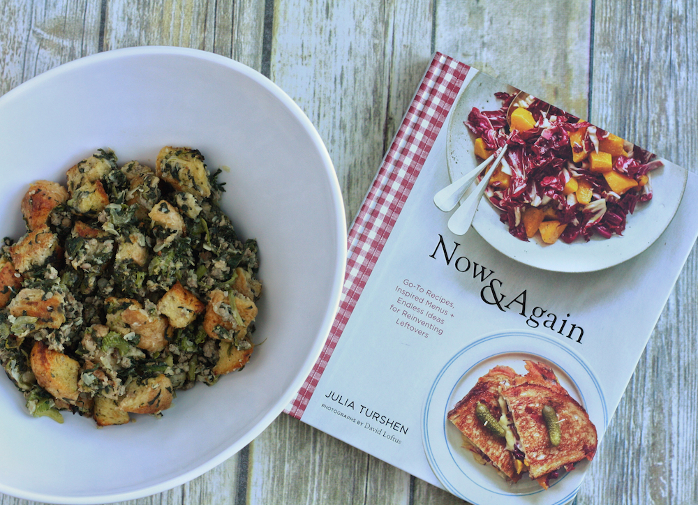Julia Turshen's Sheet Pan Bread Stuffing with Sausage + Spinach   St. Louis Family and Lifestyle Blogger Liz of Ellie And Addie shares the best stuffing recipe for Thanksgiving