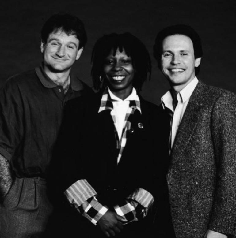 Whoopi Goldberg, Robin Williams and Billy Crystal, 1986