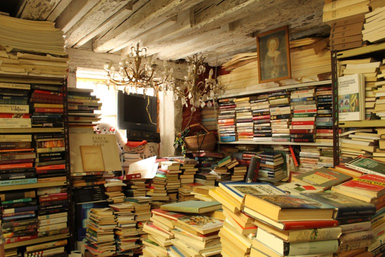 inside the Liberia aqua alta bookshop in venice