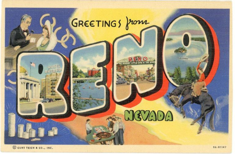 greetings from reno vintage travel postcard