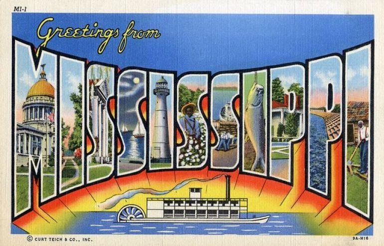 mississippi vintage travel postcard