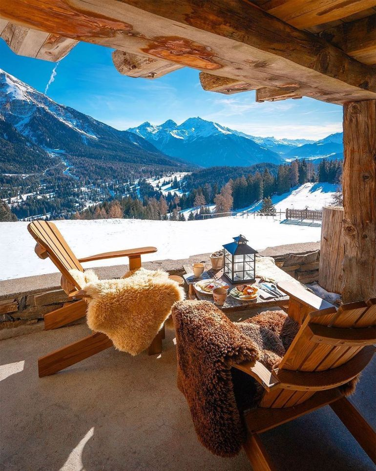 swiss mountain lodge view