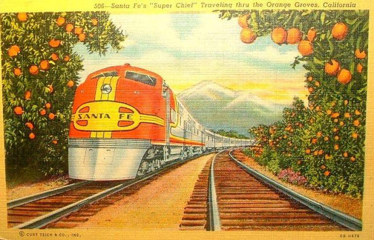 colour postcard of old train
