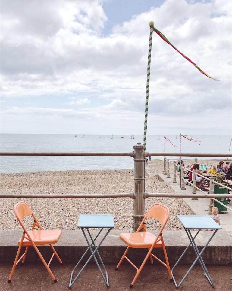 cafe seats overlooking beach