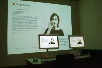Tictac Typing & Peanut Typing installed at Peterborough Digital Arts in 2004