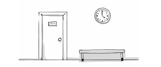 door bench and clock sketch