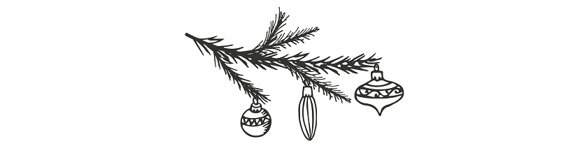 christmas tree branch and baubles illustration