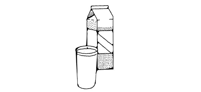 milk carton and glass illustration