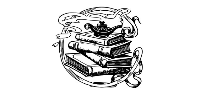 "Genie lamp and books illustration - ""Lamp"" Short Story"