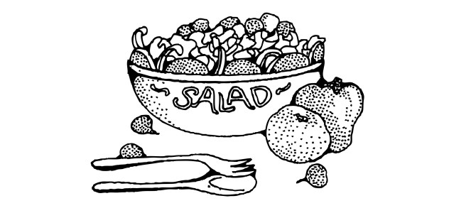 "Salad bowl illustration - ""Food Poisoning"" Microfiction"
