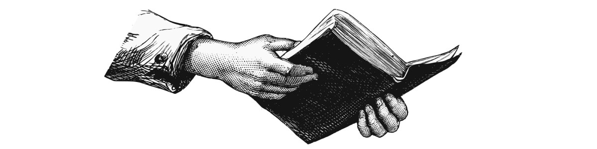 "Hands holding book illustration - ""Being Inspired, Not Influenced, by Other Writers"" blog"